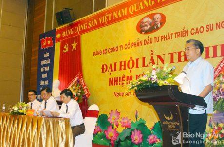 Ông Phạm Trung Thái - Chủ tịch HĐQT Công ty phát biểu tại Đại hội. Ảnh: Phú Hương