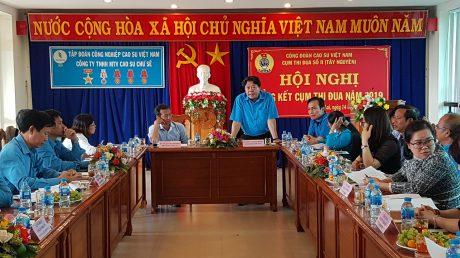 Ông Phan Mạnh Hùng, Chủ tịch Công đoàn VRG phát biểu tại hội nghị
