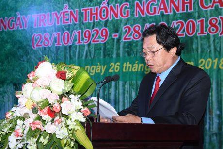 Ông Phan Mạnh Hùng - Chủ tịch Công đoàn Cao su VN ôn lại truyền thống ngành cao su tại lễ kỷ niệm 89 năm truyền thống ngành