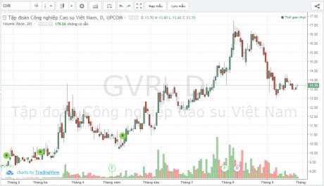 Diễn biến giá cổ phiếu GVR từ đầu năm đến nay