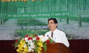 Đ/c Cao Đức Phát - Ủy viên TW Đảng, Phó Trưởng Ban Thường trực Ban Kinh tế TW phát biểu tại Hội nghị phát triển cao su hiệu quả, bền vững đến năm 2030. ẢNH: VŨ PHONG