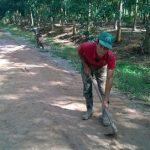 Người công nhân chăm chỉ sửa đường