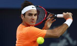 Roger Federer in action against Borna Coric