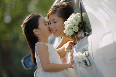 Flower Girl Kissing Bride's Cheek