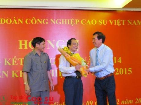 Ông Trần Thoại - Phó TGĐ VRG(giữa) nhận khen thưởng tại Hội nghị tổng kết công tác Đảng năm 2014 và triển khai nhiệm vụ năm 2015 Ảnh: Hồng Lý