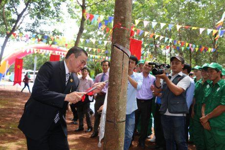 TGĐ Cao su Phú Riềng Lê Thanh Tú mở miệng cạo mủ năm 2017.