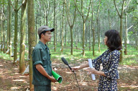Lê Hoài Anh trao đổi với PV trên vườn cây