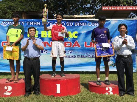 ng Hà Trọng Bình, Phó tổng giám đốc công ty (bên trái) và ông Nguyễn Đức Tiến, Phó chủ tịch Công đoàn công ty trao giải cho các đội bóng