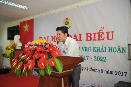 Ông Ngô Minh Lợi - Chủ tịch CĐ VRG Khải Hoàn phát biểu nhận nhiệm vụ