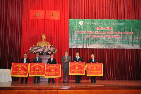 Ông Võ Sỹ Lực - Chủ tịch HĐTV VRG trao cờ thi đua Bộ NN&PTNT cho các đơn vị.