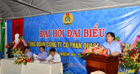 Ông Phan Mạnh Hùng - Chủ tịch CĐ CSVN phát biểu tại đại hội.