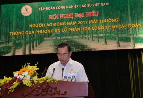 TGĐ Cao su Phú Riềng Lê Thanh Tú trình bày tham luận tại Hội nghị đại biểu NLĐ năm 2017 thông qua phương án CPH Công ty mẹ - Tập đoàn. Ảnh: Minh Thông