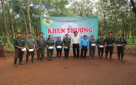 Ông Lê Hữu Phước Chủ tịch Công đoàn Tổng Công ty trao thưởng cho CNLĐ vượt sản lượng tháng 10/2017 tại Đội 3, Nông trường Cẩm Mỹ