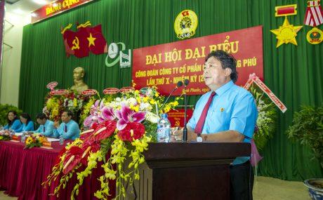 Ông Phan Mạnh Hùng - Chủ tịch CĐ CSVN phát biểu chỉ đạo tại Đại hội CĐ Cao su Đồng Phú. Ảnh: Tùng Châu