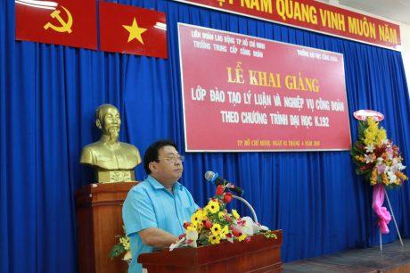 Ông Phan Mạnh Hùng – Chủ tịch CĐ CSVN phát biểu tại lễ khai giảng lớp đào tạo Lý luận và nghiệp vụ công tác CĐ K192.