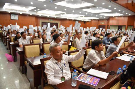 CĐ biểu quyết thông qua các tờ trình tại Đại hội. Ảnh: Tùng Châu