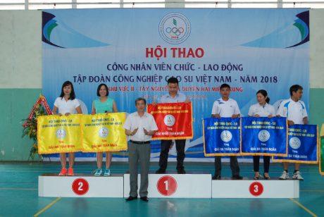 Phó TGĐ VRG, Trưởng BTC hội thao 2018 Hứa Ngọc Hiệp trao giải toàn đoàn cho các đơn vị