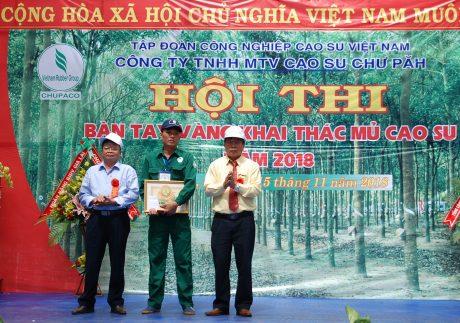 Đoàn thợ giỏi Cao su Chư Păh đã sẵn sàng ngày hội lớn. Trong ảnh: Lãnh đạo Công ty TNHH MTV Cao su Chư Păh trao thưởng tại Hội thi Bàn tay vàng cấp công ty ngày 15/11.