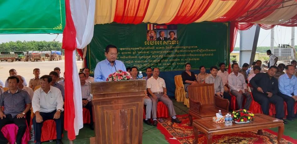 Ngài Sok Lou - Tỉnh trưởng Tỉnh Kampong Thom phát biểu tại lễ mít tinh