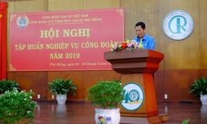 ông Lưu Thế Doanh – Chủ tịch Công đoàn Cao su Phú Riềng phát biểu khai mạc hội nghị tập huấn