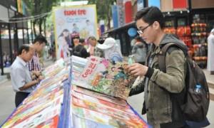 Báo Xuân Tạp chí Cao su trưng bày tại Hội báo Xuân. Ảnh: Minh Tâm