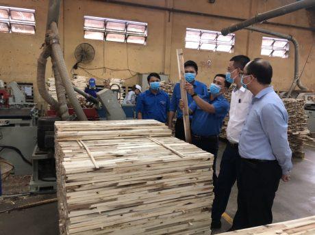 Đoàn công tác Đoàn Khối DNTW đến thăm và làm việc với Đoàn cơ sở Công ty CP Chế biến gỗ Thuận An. Ảnh: Châu Thị Phương Linh