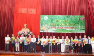 Cô Nguyễn Thị hUỆ (THỨ 5 từ trái qua) trong dịp Họp mặt cán bộ hưu trí Mừng Xuân 2019