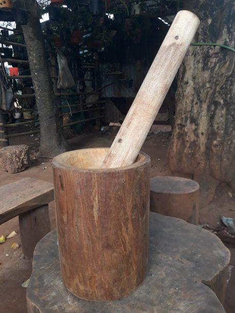 Một chiếc cối gỗ hoàn thiện