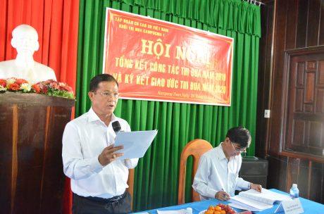 Ông Nguyễn Văn Luyến – TGĐ Công ty CP Cao su Phước Hòa Kampong Thom báo cáo tại hội nghị