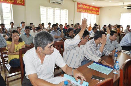 Cac đại biều biểu quyết bầu đại diện người lao động tham gia đối thoại định kỳ