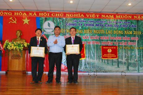 Phó Chủ tịch tỉnh Gia Lai Kpă Thuyên tặng bằng khen của tỉnh cho lãnh đạo công ty