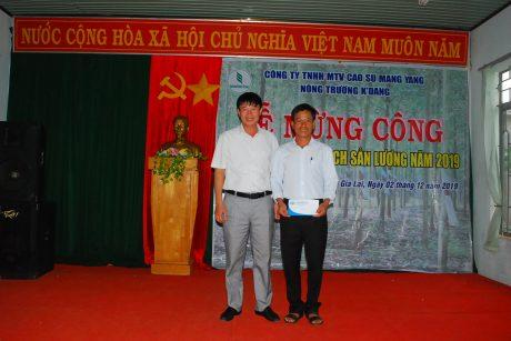 Ông Lê Huy Phu - Chủ tịch CĐ công ty trao thưởng cho tập thể đoàn viên NT