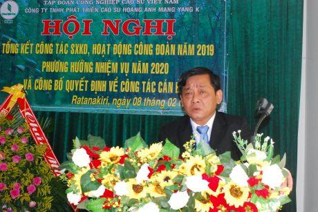 Ông Trương Minh Tiến - Chủ tịch HĐQT Công ty CP Cao su Mang Yang Ratanakiri phát biểu định hướng hoạt động cho công ty trong năm tới