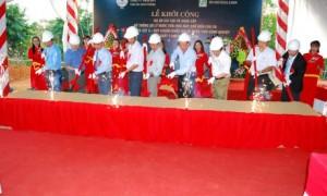 Lãnh đạo VRG, tỉnh Gia Lai, huyện Chư Prông cùng nhà thầu và Công ty Chư Prông thực hiện nghi thức động thổ