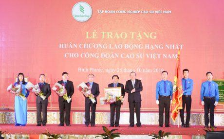 Phó Thủ tướng Thường trực Chính phủ Trương Hòa Bình, thay mặt lãnh đạo Đảng và Nhà nước trao Huân chương Lao động hạng Nhất cho Công đoàn Cao su VN.