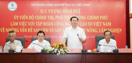 Phó Thủ tưởng Chính phủ Vương Đình Huệ phát biểu tại buổi làm việc với VRG vào ngày 18/4/2019. Ảnh: Vũ Phong