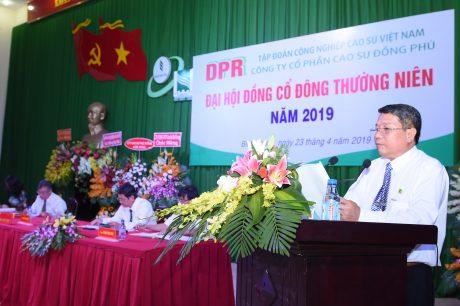 Ông Mai Huỳnh Nhật - Chủ tịch HĐQT Công ty báo cáo tại đại hội