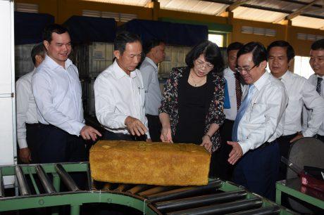 Đoàn công tác tham quan Nhà máy chế biến An Lộc, TCT Cao su Đồng Nai.