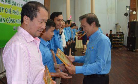 Phó Chủ tịch CĐ CSVN Võ Việt Ngân trao bằng khen cho các tập thể có thành tích xuất sắc thự hiện Nghị quyết 6b.