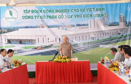 Đồng chí Nguyễn Phú Trọng  phát biểu tại chuyến thăm và làm việc cới công ty