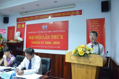 Đ/c Trần Đức Thuận- UV Ban thường vụ Đảng ủy VRG phát biểu chỉ đạo đại hội