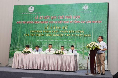 Ông Cao Chí Công  - Phó Tổng cục trưởng Tổng cục Lâm nghiệp thông qua Quy chế phối hợp giữa Tổng Cục Lâm Nghiệp và VRG về Quản lý rừng bền vững và Chứng chỉ rừng