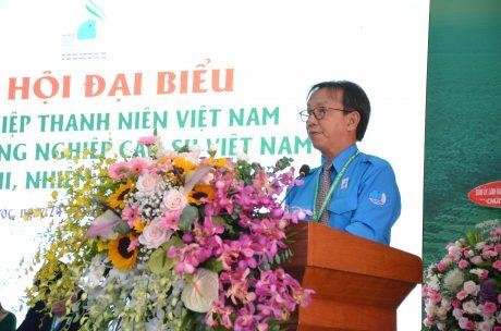 Ông Nguyễn Quang Thông - Phó Chủ tịch Hội LHTN Việt Nam, Tổng biên tập Báo Thanh Niên phát biểu tại đại hội