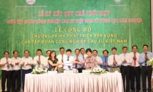 Đại diện tổ chức Oxfam, PanNature và VRG thể hiện cam kết sau khi ký biên bản ghi nhớ hợp tác vào ngày 29/5. Ảnh: Vũ Phong