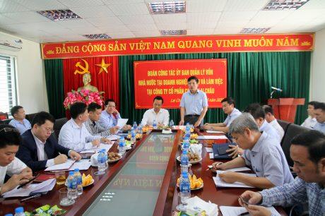 chí Hồ Sỹ Hùng –Phó Chủ tịch Ủy ban Quản lý vốn Nhà nước tại Doanh nghiệp kết luận tại buổi làm việc tại Công ty Cổ phần cao su Lai Châu