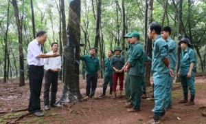 Ông Đặng Văn Lệ - Chủ tịch Công đoàn cao su Đồng Phú (bên trái) thường xuyên ra tận lộ, thăm hỏi, động viên công nhân. Ảnh: Ngọc Cẩm