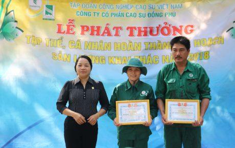 Chị Lại Thị Hồng – Chủ tịch CĐ NT An Bình trao thưởng cho CN.