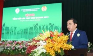 Ông Đỗ Minh Tuấn - TGĐ TCT Cao su Đồng Nai phát biểu tại hội nghị Tổng kết SXKD năm 2019. Ảnh: Vũ Phong